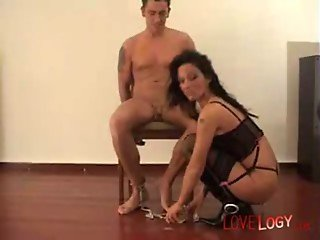 German lady sucking cock from handcuffed guy, Vaginal Sex Oral Sex Bondage Blackhaired Caucasian Blo