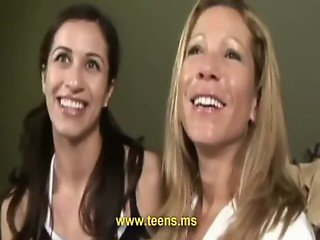 Young teen girl and sexy lesbian milf