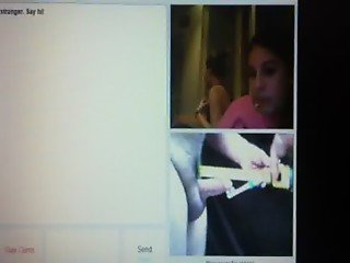 2 Omegle girls watch me measure my small tiny little cock