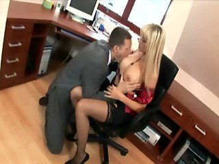 Secretary in thigh highs fucking at the office
