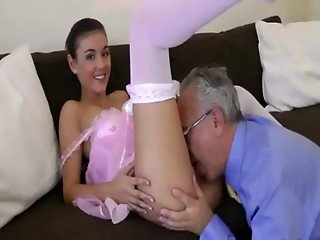 Dirty young whore sucks old dick