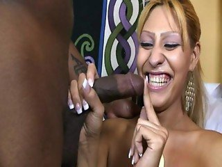 Blonde Transsexual eating cock with her ass