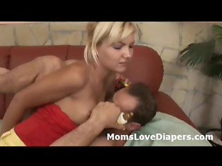 Blonde diaper mom fucks adult babys ass with a strapon