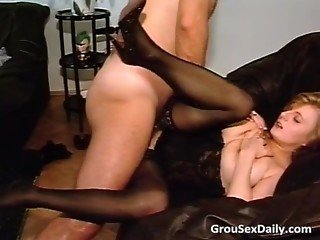 Amateur brunette MILF in stockings