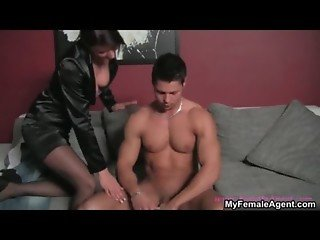 Female boss makes a lucky guy strip