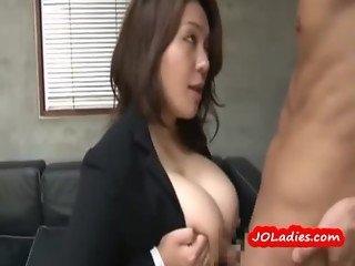 Busty Office Lady Sucking Guy Fucked On The Couch In The Office