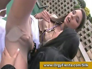 Glamorous lesbians licking pussy in the open