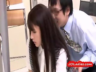 Office Lady Fingered Fucked From Behind In The Busy Office
