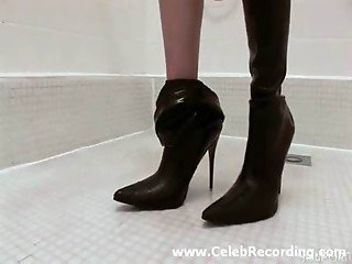 High heel boots filled with piss