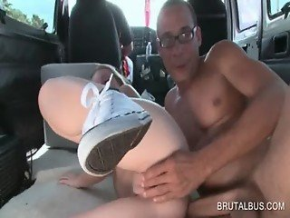Hot sex in the bus with naked blondie