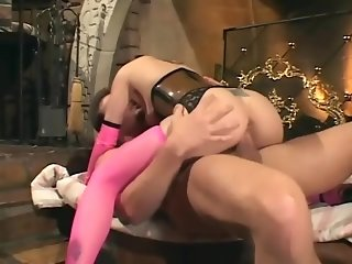 Fucking in a latex corset and fishnet stockings