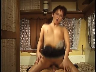 Short haired fuck machine screws guy in the infamous Bulgarian fuck trailer