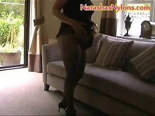 BBW English MILF Mummy Wife In Pantyhose With Nice Big Tits Mastubates