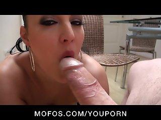 NATURAL BIG TIT & ASS EURO BRUNETTE MILF FUCKS BIG