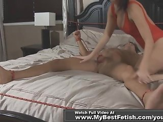 TIED UP MAN GET TICKLED BY BUSTY CHEEK