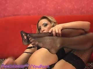 Showing Off Her Feet in Black Nylons