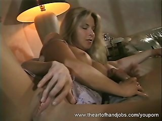 Blonde in Sexy Dress Handjob