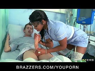 Sexy black nurse sucks & fucks sex addict's big-dick in hospital
