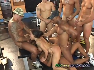 Hot dame is fucked by hunks