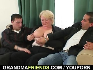 Two dudes bang totally drunk granny