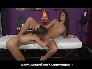 Lesbian Teen Massage Girl Pussy Licking and Grinding