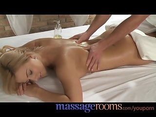 Massage Rooms Busty young girl is sensually oiled and penetrated deep for orgasm