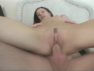 Hot little honey takes a huge cock up her ass