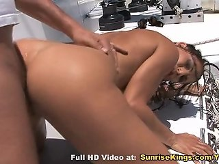 Sex on the yacht with busty babe
