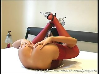 Big boob girl flexible with dildo