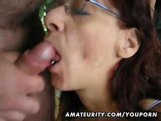 Hot amateur mature slut sucks and fucks with huge facial