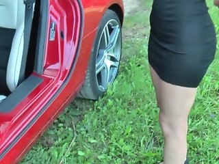 sexy voyeur upskirt no panties in Mercedes SLS