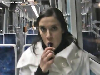 Public Dildo Games in Train - REAL Amateur Content