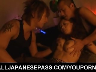An oriental whore gets down with two bad boys