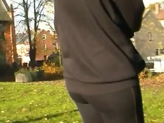 Skin Tight Black Leggings In Public 1