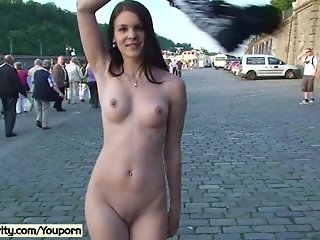 Crazy naked babes has fun on public streets