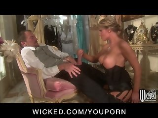 Hot big-tit blonde slut in lingerie fucked by hard dick to orgasm