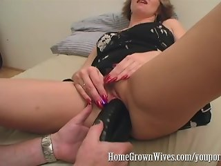 HomeGrownWives MILF Inserts Extreme Size Dildos During BJ