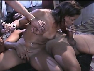 Ebony hotties going wild at a party