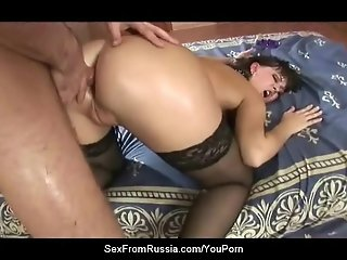 Amazing Russian Brunette Face-Fucked