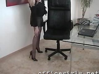Secretary Slut Wearing Seamless Black Pantyhose Fingers Pussy at Her Desk