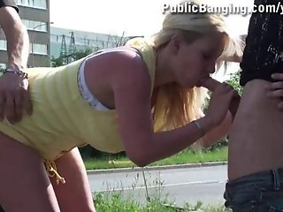 HUGE BOOBS girl PUBLIC ORGY in the middle of a STREET part 1