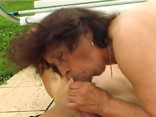 Hot Grannie trying to turn on pool boy [CLIP]