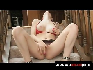 Brunette Moans While Rubbing Her Clit