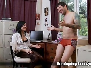 Tattooed Slut Gets Fucked in Home Office
