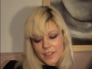 Cute blonde stretching her pussy lips - DBM Video