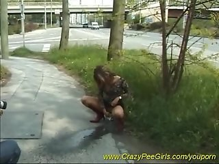 young girls pissing in nature