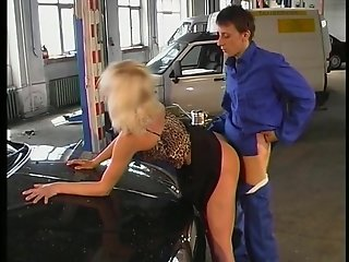 German Blonde In Parking Lot