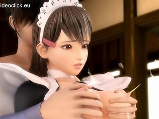 Sexy 3d anime maid finger fucked