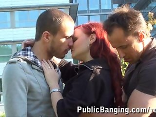 Public Sex Threesome By An Office Building PART 1