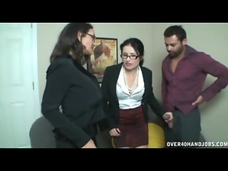 Boss jack off by his two horny secretaries